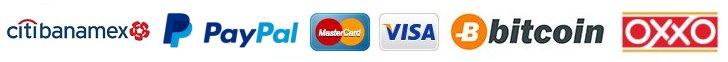 Depósito/Transferencia Bancaria, Paypal (Mastercard - Visa), Bitcoin y Oxxo